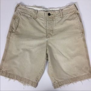 Abercrombie & Fitch Frayed Button Fly Khaki Short